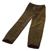 Authentic FENDI Vintage Leopard Pattern Long Pants Brown Black AK31836