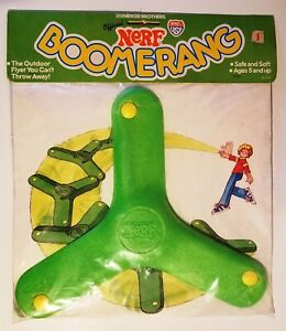 Vintage Parker Brothers Nerf BOOMERANG Green Sealed Original Package +No Creases