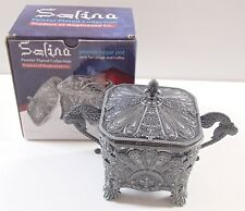 BNIB Selina Pewter Plated Glass Pot Bowl Dish & Lid Sugar Coffee Sweets Bon Bon