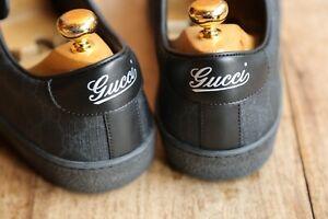 Men's Gucci Black Leather Monogram Shoes Trainers Sneakers UK 9 US 10 EU 43
