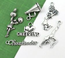 6 CHEERLEADING Charms, Antique Silver Mixed Cheering Collection Lot Set US Selle