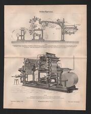 Lithografie 1878: Schnellpresse. Rotations-Buchdruckmaschine mit Falzapparat