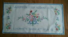 Vintage Swedish Scandinavian Hand Embroidered Sampler ~ Floral Accents