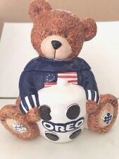 "Ceramic ""Oreo"" Patriotic Teddy Bear Cookie Jar, Free Shipping"