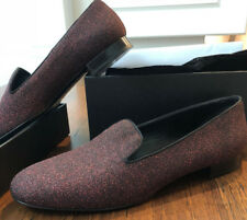 Yves Saint Laurent Flat Smoking Slipper Black and Red Glitter Metallic 39.5 $795