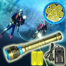80000LM Scuba Waterproof 7X XML2 LED Diving Flashlight Underwater 200M Torch kit