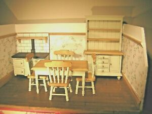 1/12th Dollshouse Miniature Wooden, Cooker, Dresser, Table and 4 Chairs Duck Egg