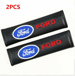 2PCS FORD Auto Interior Carbon Fiber Car Seat Belt Pads Covers Shoulder Cushion