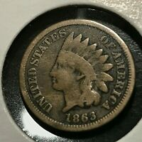 1863 INDIAN HEAD CENT BETTER DATE COIN