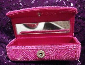 MK Signature Mary Kay Shabby Hot Pink Beaded Mirrored Snap Lipstick Case Holder
