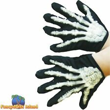 Skeleton Child One Size Gloves Halloween Childs Kids Fancy Dress Accessory