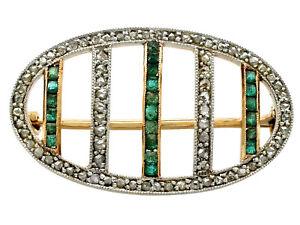 Antique 0.22 ct Emerald 0.39 ct Diamond 18k Yellow Gold Brooch - Circa 1910