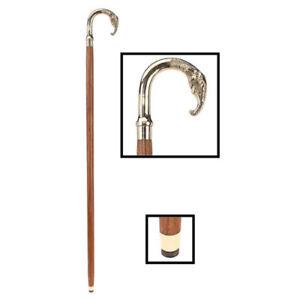 Classic Polished Brass African Elephant Hardwood Cane Wooden Brass Walking Stick
