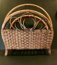 Vintage Bamboo Rattan Cane Magazine Newspaper Rack 2 Compartments MCM