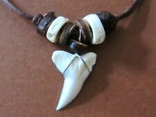SHARK TOOTH PENDANT BROWN CORD NECKLACE WOOD BEADS REAL TIGER BULL TEETH MEN BOY