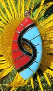 Anhänger ineinander verschlungen  blau rot schwarz oval Sterling Silber 925