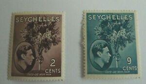 SEYCHELLES GEORGE VI SCOTT 125 AND 131  MH CAT 5.15