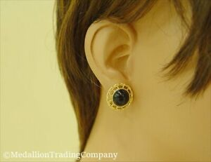 14k Yellow Gold Black Onyx Jade Cabochon Bamboo 19mm Round Omega Back Earrings