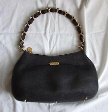 NEW ERIC JAVITS Squishee Black Handbag with gold woven chain strap