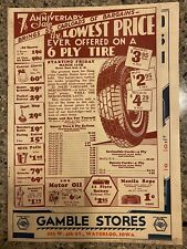 Gambles Store Flyer - Antique 1900's Advertising - Waterloo, Ia