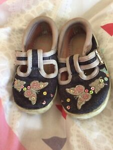 Clarks Doodles Summer Shoes Denim With Butterflies And Sequins 4G