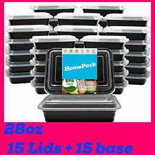 More details for meal prep food containers microwavable bpa free plastic reusable 15lids + 15base