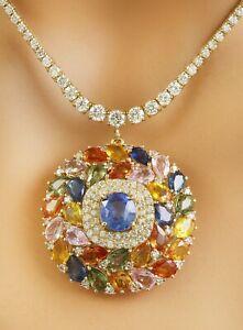 24.77 Carat Natural Sapphire 14K Yellow Gold Diamond Necklace