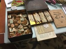 Antique MAHJONG SET 148 bone and bamboo tiles, wind marker in original tin case