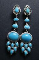 925 sterling sleeping beauty turquoise design stud/post earring women silver
