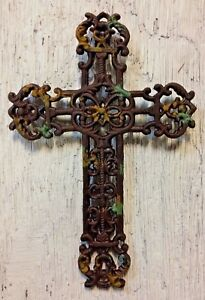 FRENCH GARDEN CROSS, Antique Bronze with Faux Rust & Verdigris Finish, cast iron