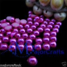 1800pcs Dark Pink 1.5mm Flat Back Half Round Resin Pearls Nail Art Gems C21