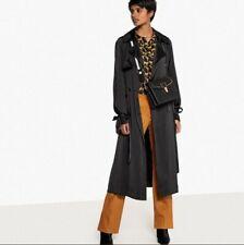 La Redoute Black Satin Look Trench Coat Size 8 NEW