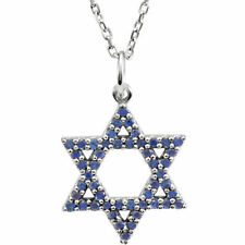 "Blue Sapphire Star of David 16"" Necklace In 14K White Gold"