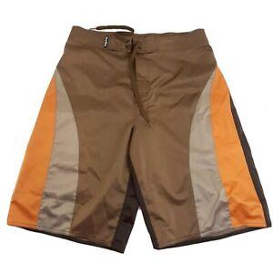 First Wave Roundtree & York Swim Trunks Mens 34 Retro Orange Brown Wave Shorts