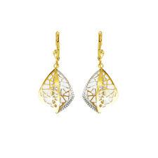 Echt Gold Damen Ohrringe in 585 Gold Pendel Gelbgold & Weißgold 14Karat 3047