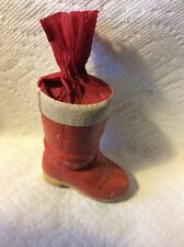 OLD GERMAN SANTA BOOT CREPE PAPER CARDBOARD CANDY CONTAINER CHRISTMAS ORNAMENT
