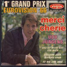UDO JURGENS EUROVISION 66 1er GRAND PRIX MERCI CHERIE 45T EP BIEM VOGUE 8412