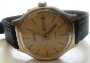 WATCH SLAVA-26jew-GOLD PLATED--OLD CCCР WRIST WATCH MEN,S