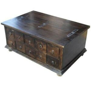 Boston Classic Wood Storage Coffee Table with 10Drawers Chocolate(MADE TO ORDER)
