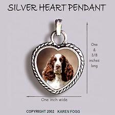 English Springer Spaniel Dog Red White - Ornate Heart Pendant Tibetan Silver