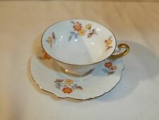 Kaffee Tasse mit Untertasse Eschenbach Porzellan Blumen Dekor antik