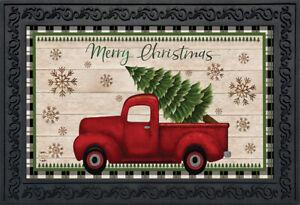 """Merry Christmas Pickup Truck Doormat Indoor Outdoor 18"""" x 30"""" Briarwood Lane"""