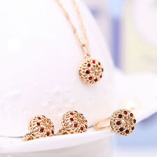 Lady Hollow Rhinestone Flower Pendant Necklace Earrings Ring Jewelry Set Fashion