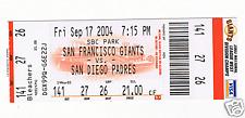Barry Bonds 700 home run Game Ticket Stub 9-17-04