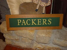PACKERS LARGE CUSTOM LETTERED PANORAMIC CEDAR FRAMED MAN CAVE BAR DISPLAY SIGN