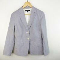 Brooks Brothers 346 Classic Fit Blazer Jacket Blue Pinstriped Womens Size 10