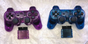 Wireless Shock Game Controller Lot for the Ps2 Transparent Blue & Purple