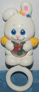 Vintage 1984 MATTEL ANGEL BUNNY Baby Teether Rattle Rare NICE CONDITION LOVEY