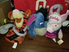 Disney Plush Eeyore, Piglett, Tigger Golf Club Head Cover Flag stick, Caddy