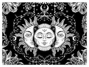 Tapestry Altar Design Cotton Fabric Indian Sun Design Small Poster Wall Hanging